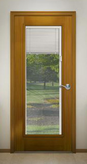 design pro fiberglass woodgrain exterior door with blinds