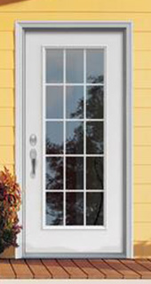 exterior door glass panel steel contours